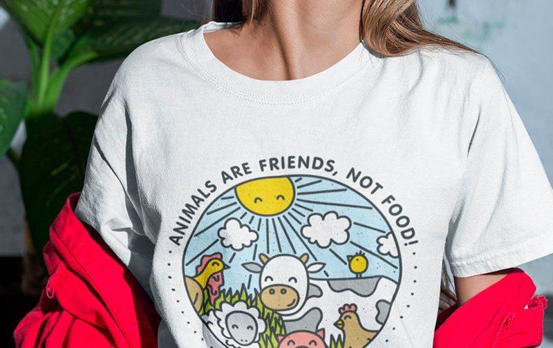 Animals-are-Friends-not-food-T-shirt-Vegan-Farm-tshirt-Vegetarian-tshirt-Veggie-tshirt-GO-Vegan-shirt