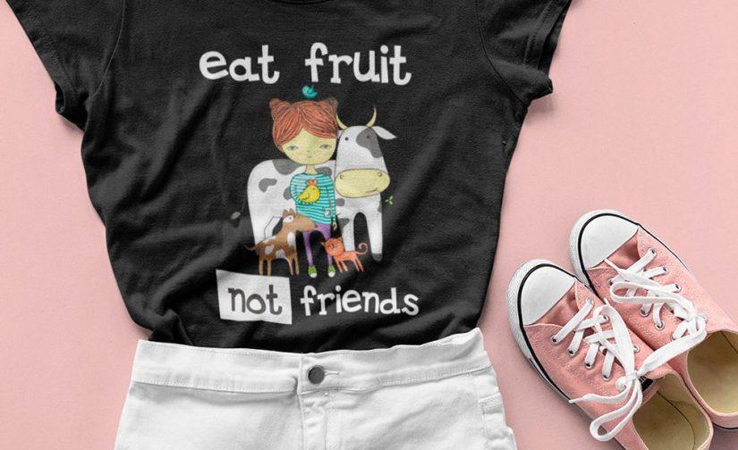 Eat-Fruit-Not-Friends-Vegan-Shirt-Vegan-tshirt-Vegetarian-tshirt-Veggie-tshirt-GO-Vegan-shirt