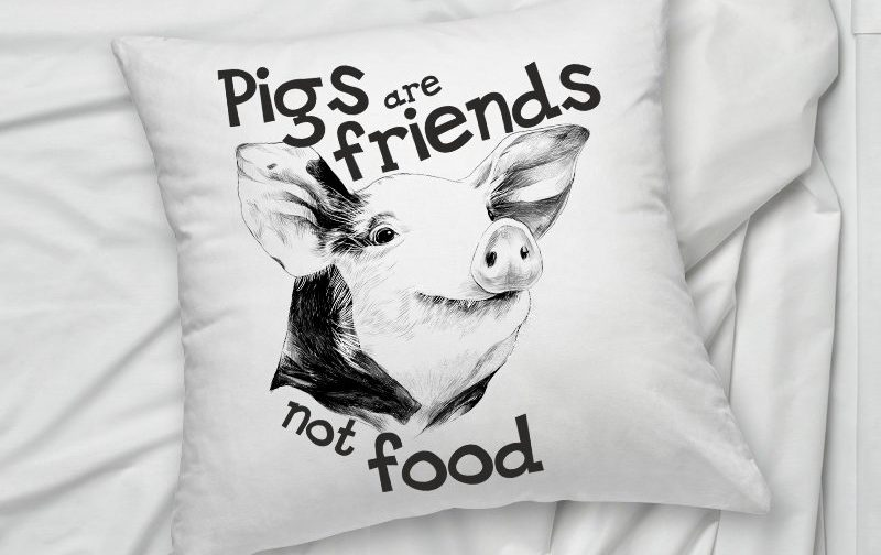 Friends-Not-Food-Veganism-Farm-Animal-Rights-Pig-pillow-cushion-cover-Vegan-Pillowcase-Vegan-Cushion-Cover-Vegan-gift-Animal-Lover
