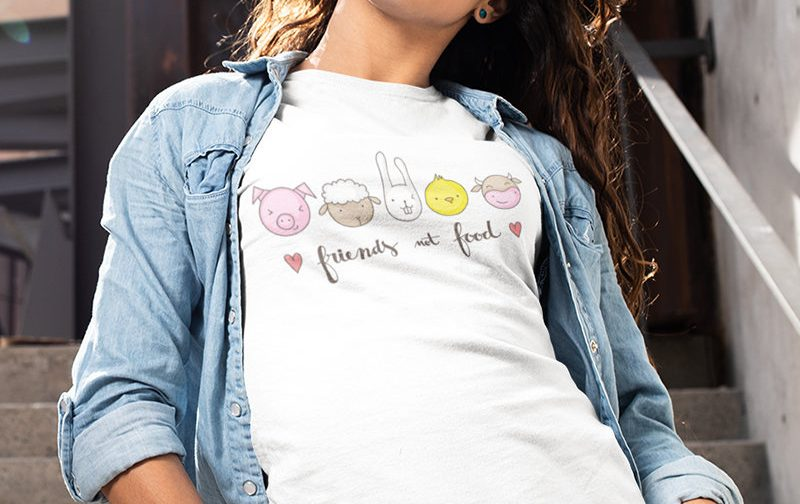 Friends-not-food-T-shirt-Vegan-Farm-tshirt-Vegetarian-tshirt-Veggie-tshirt-GO-Vegan-shirt