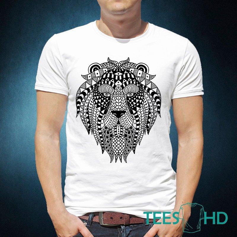 Men Lion tshirt - boho t shirt - TeesHD