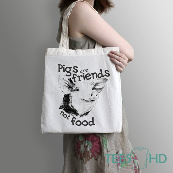 Pig-tote-Bag-Friends-Not-Food-Bag-Animal-Rights-bag-Vegan-Beach-Tote-Bag-Vegan-Gift-Vegan-Beach-Vegan-Market-Bag-Save-Animals-2