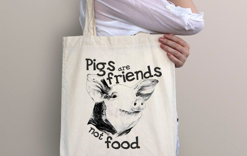 Pig-tote-Bag-Friends-Not-Food-Bag-Animal-Rights-bag-Vegan-Beach-Tote-Bag-Vegan-Gift-Vegan-Beach-Vegan-Market-Bag-Save-Animals
