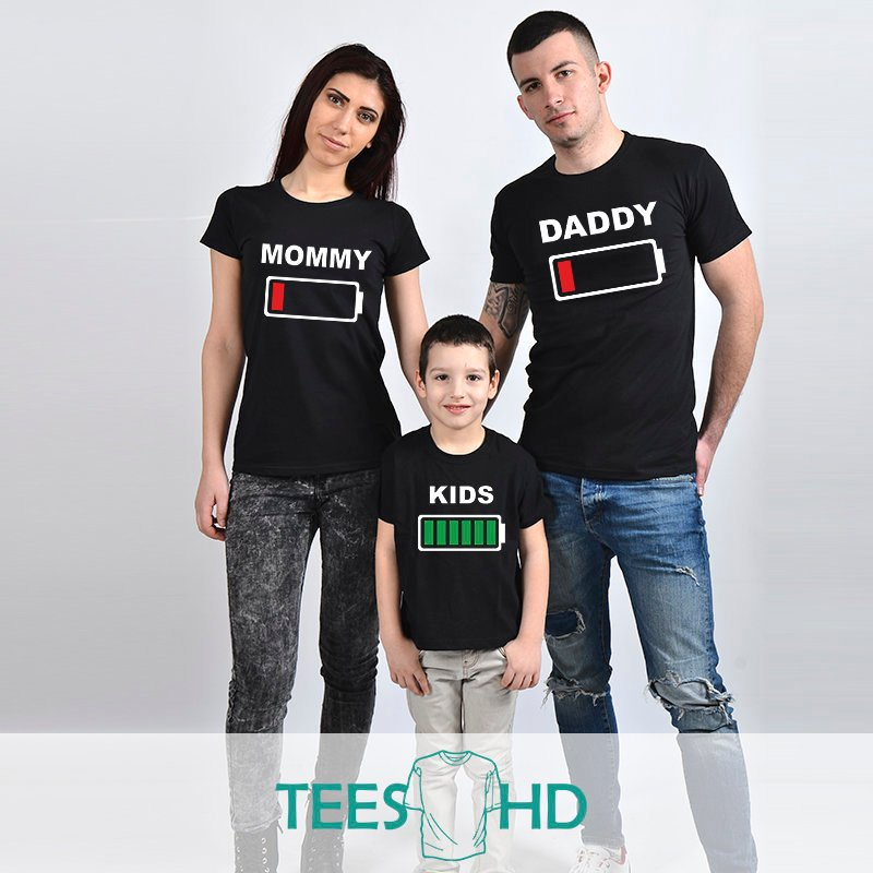 b68ca9bfd t-shirt Mommy Daddy Son Daughter family t-shirts fallen battery ...