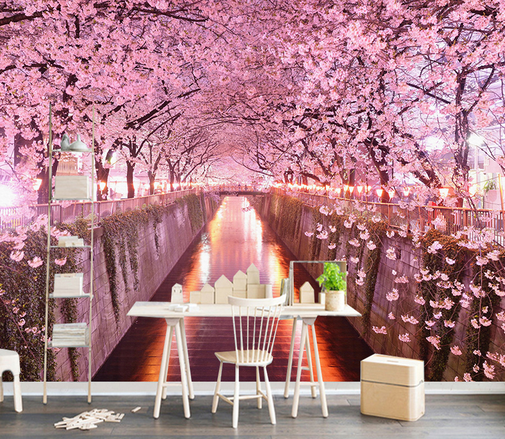Art Abstract Color Pink Tree River Mural Photo Wallpaper Wall Non