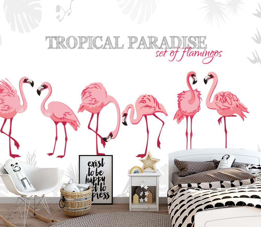Tropical Paradise Set Of Flamingos Decoration Mural Photo