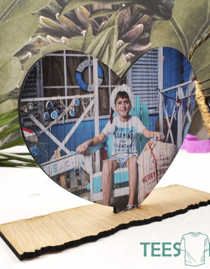 Wooden heart with your photo