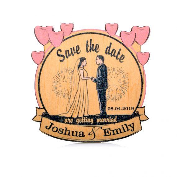Pink Hearts Round Wedding magnet, Decoration