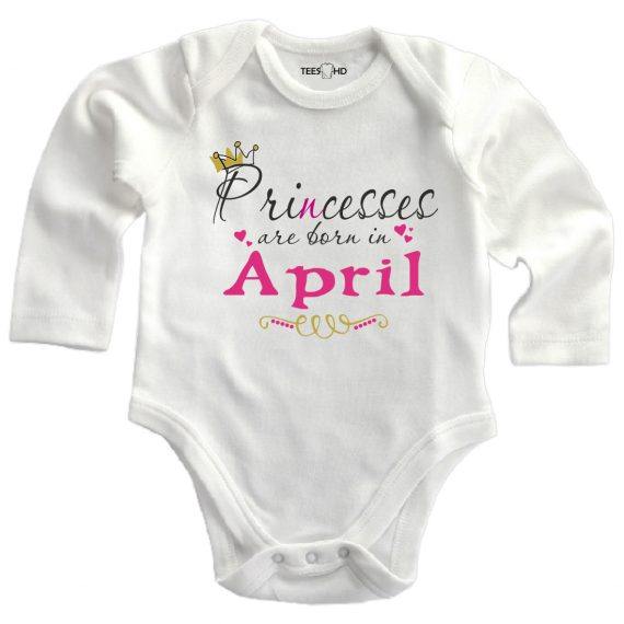 april personalized baby bodysuit long sleeve vest newborn gift