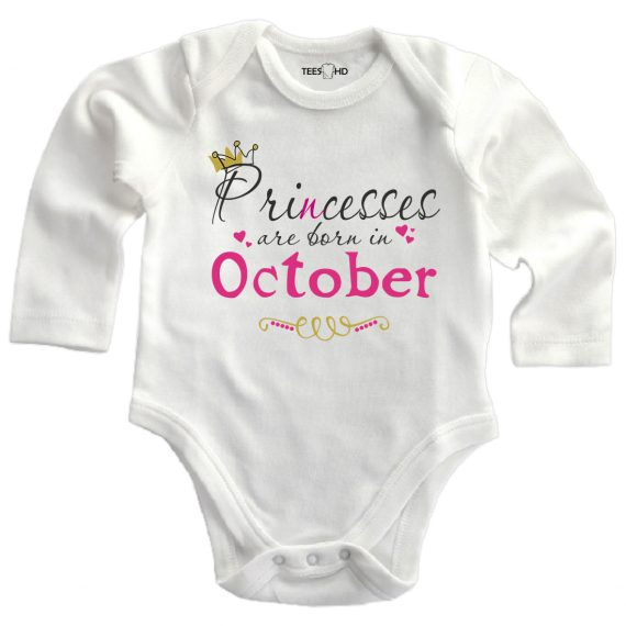 october personalized baby bodysuit long sleeve vest newborn gift