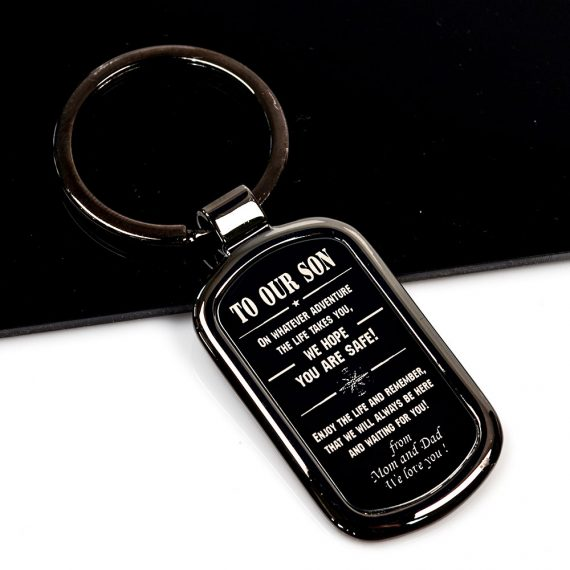 Rectangular shaped Keychain To our son