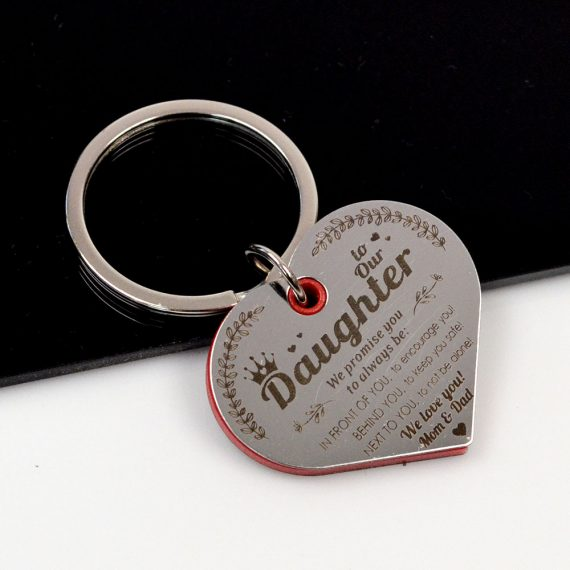 Heart shaped Keychain To our daughter