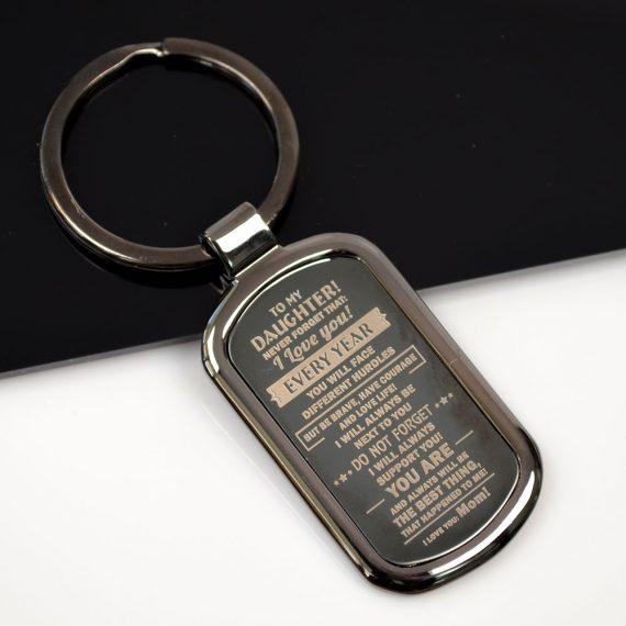Rectangular Keychain To my daughter
